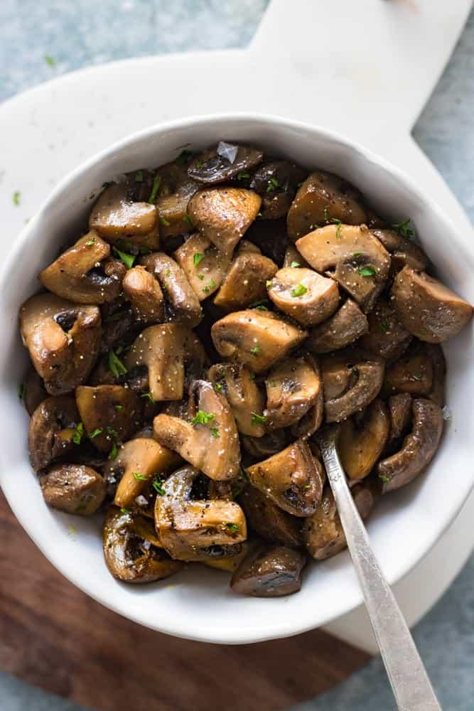Easy Sautéed Mushrooms Overhead