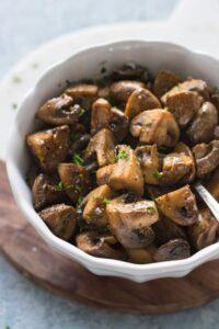 Easy Sautéed Mushrooms in Serving Bowl