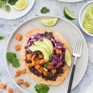 Creamy Black Bean and Crispy Sweet Potato Tostadas