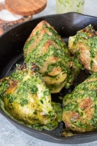 Roasted Green Cabbage with Green Tahini Sauce