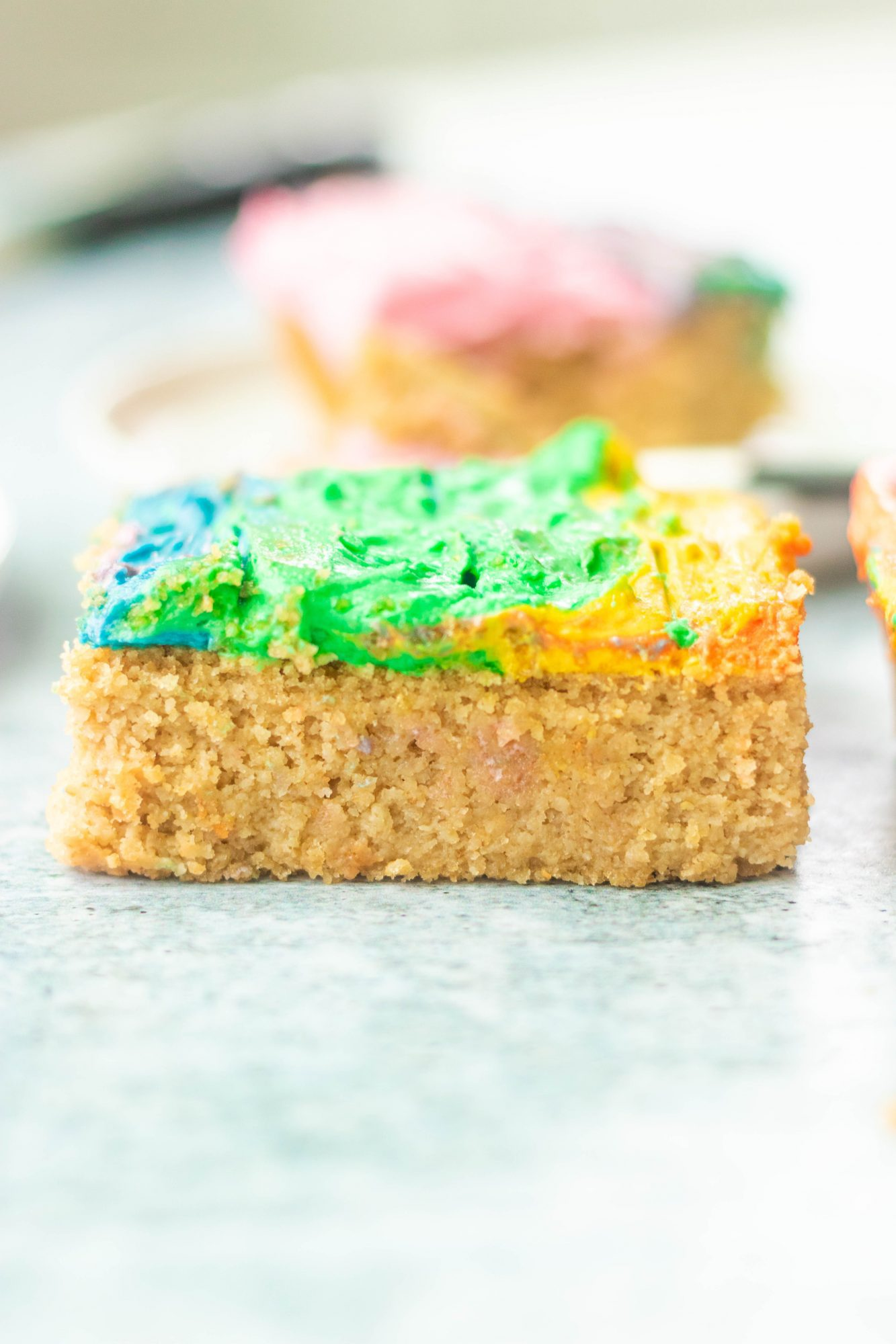 Vegan Gluten-Free Vanilla Cake with Rainbow Frosting