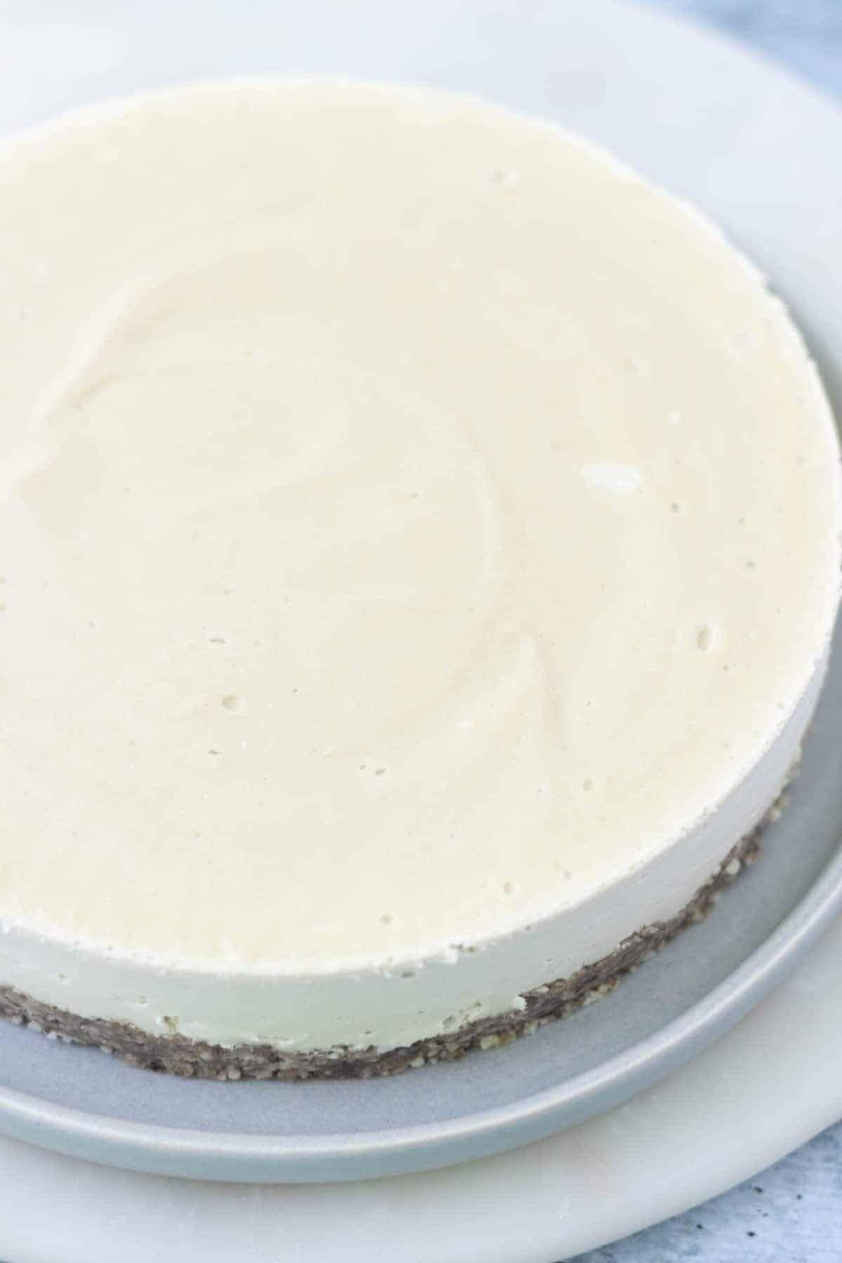 Plain Undecorated Homemade Vegan Cheesecake