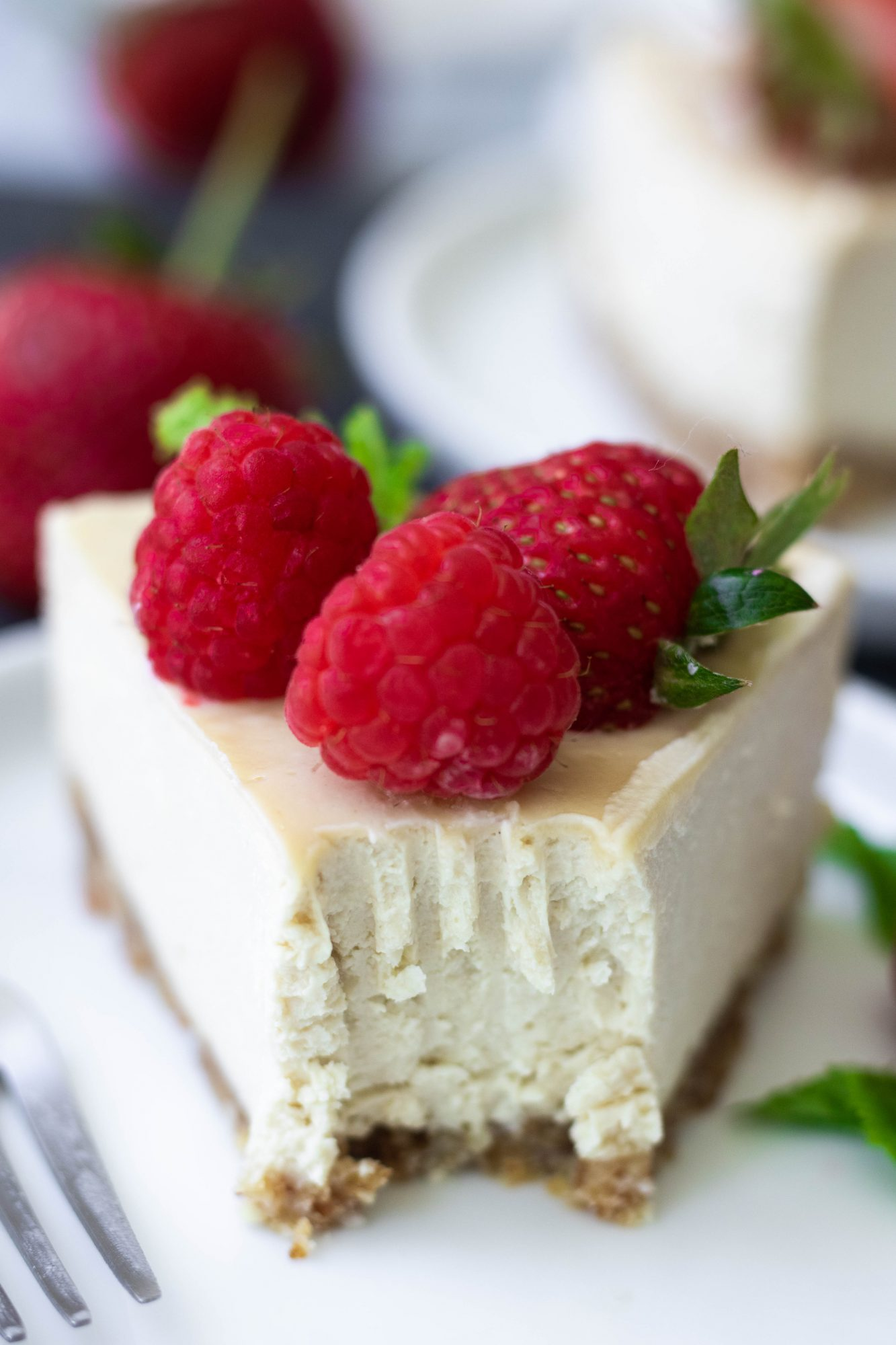 Close Up Bite Taken from Healthy Vegan Cheesecake