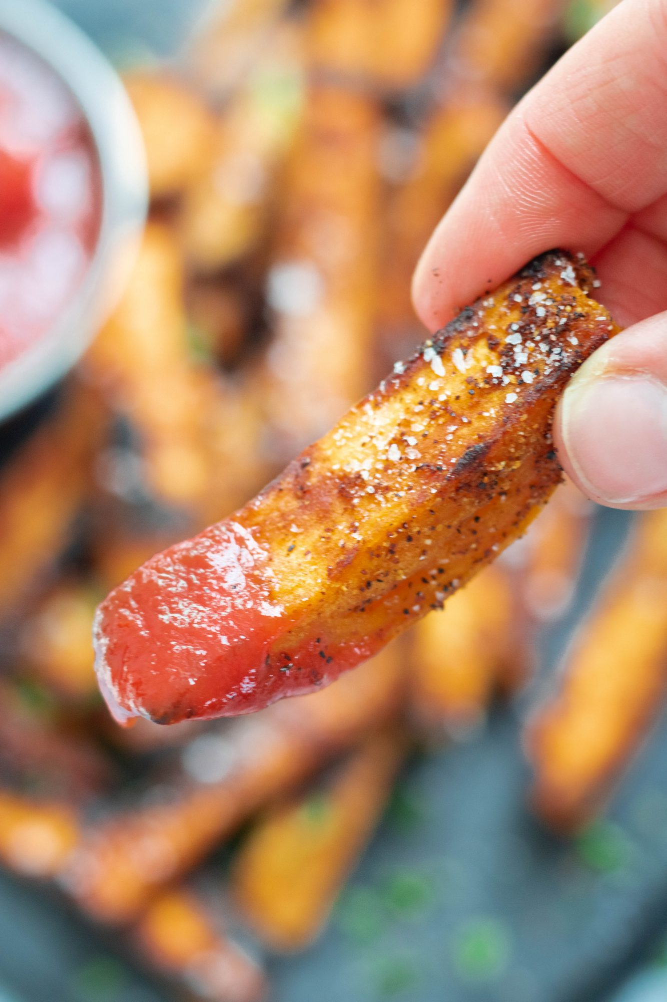 Perfectly Grilled Sweet Potato Fry Close Up