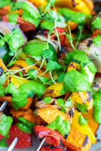 veggie skewers with chimichurri
