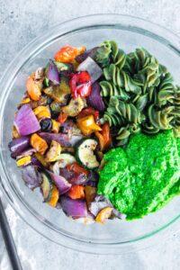 Grilled Veggies Pesto Sauce and Pasta in Bowl