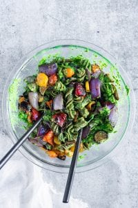 Grilled Summer Veggies Mixed with Pesto Sauce and Pasta