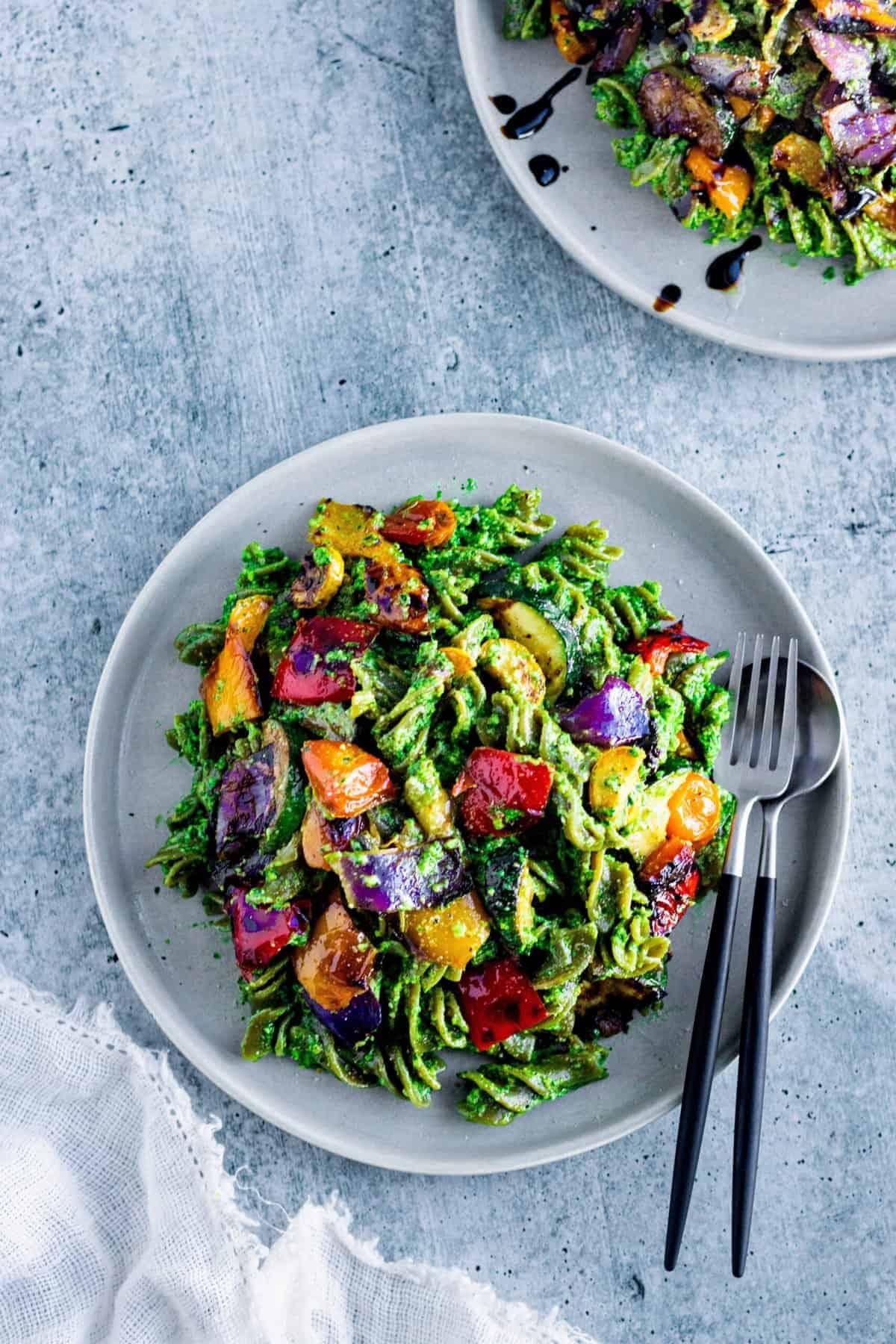 Grilled Summer Veggies Over Pesto Pasta