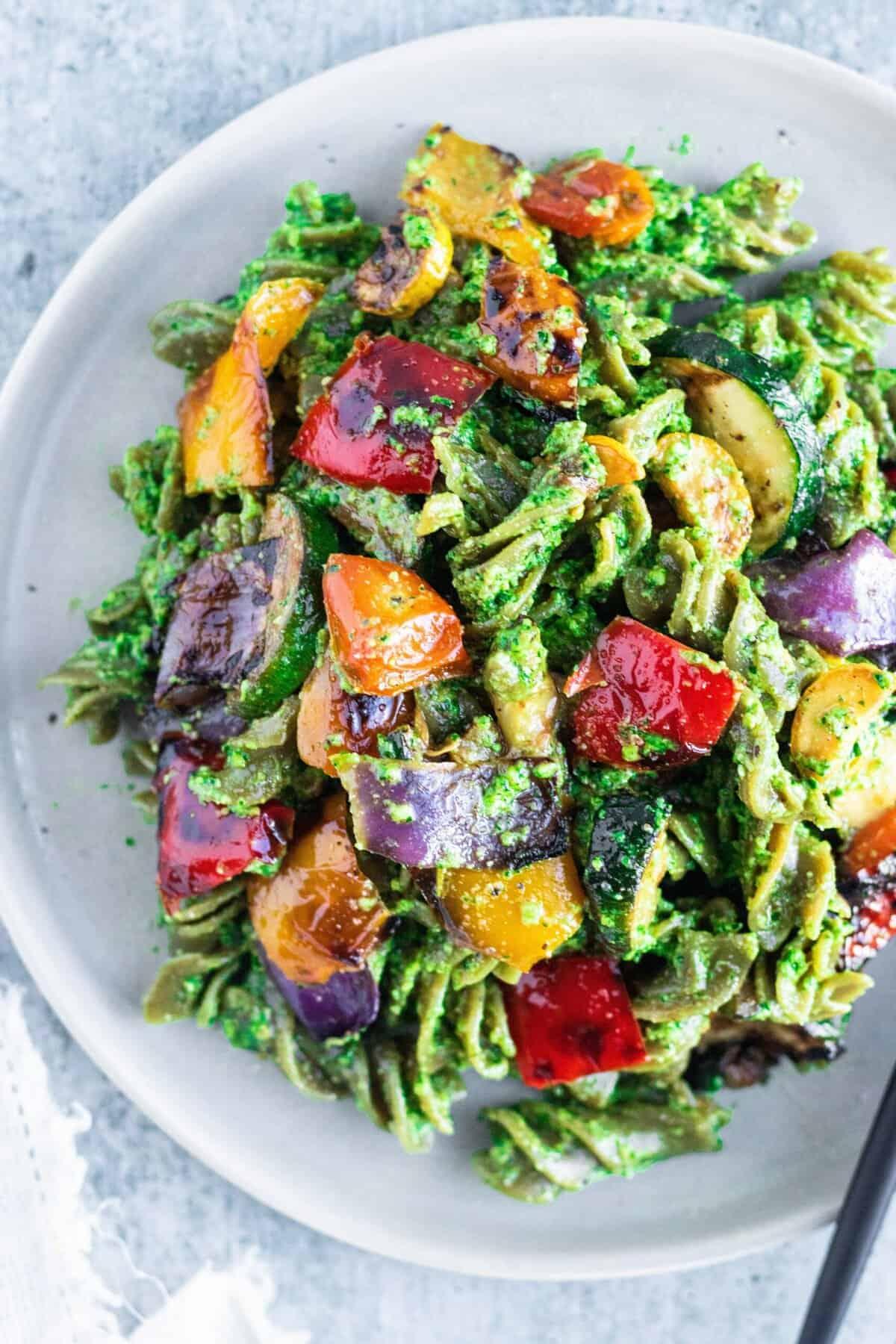 Vegan Pesto Pasta Recipe with Grilled Summer Veggies