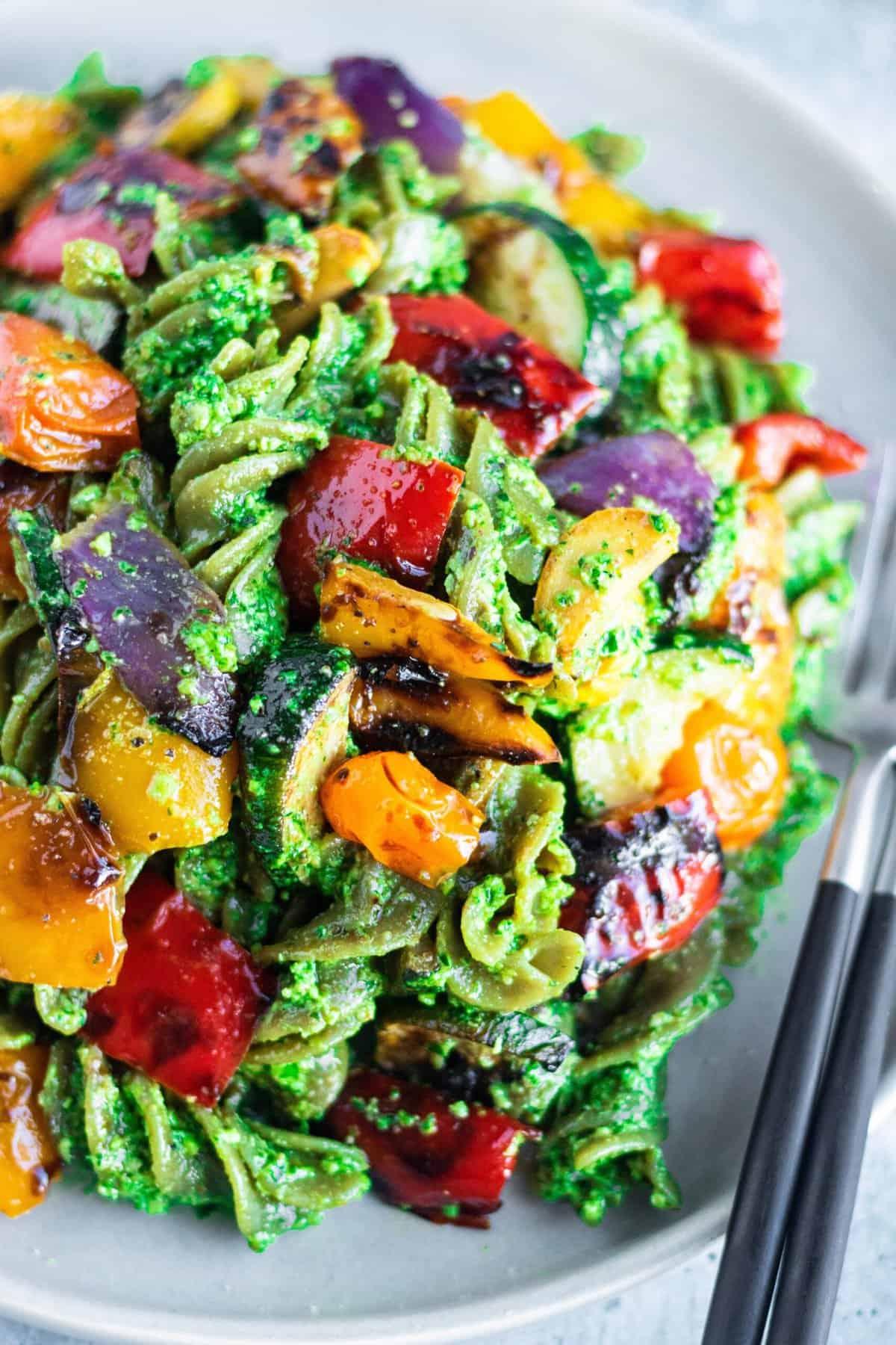Grilled Summer Vegetable Pesto Pasta Vegan Recipe