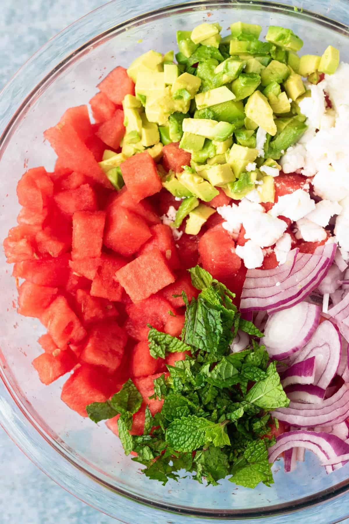 Vegan Watermelon Salad Ingredients in Bowl