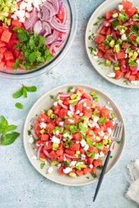 Vegan Watermelon Avocado Feta Mint Salad