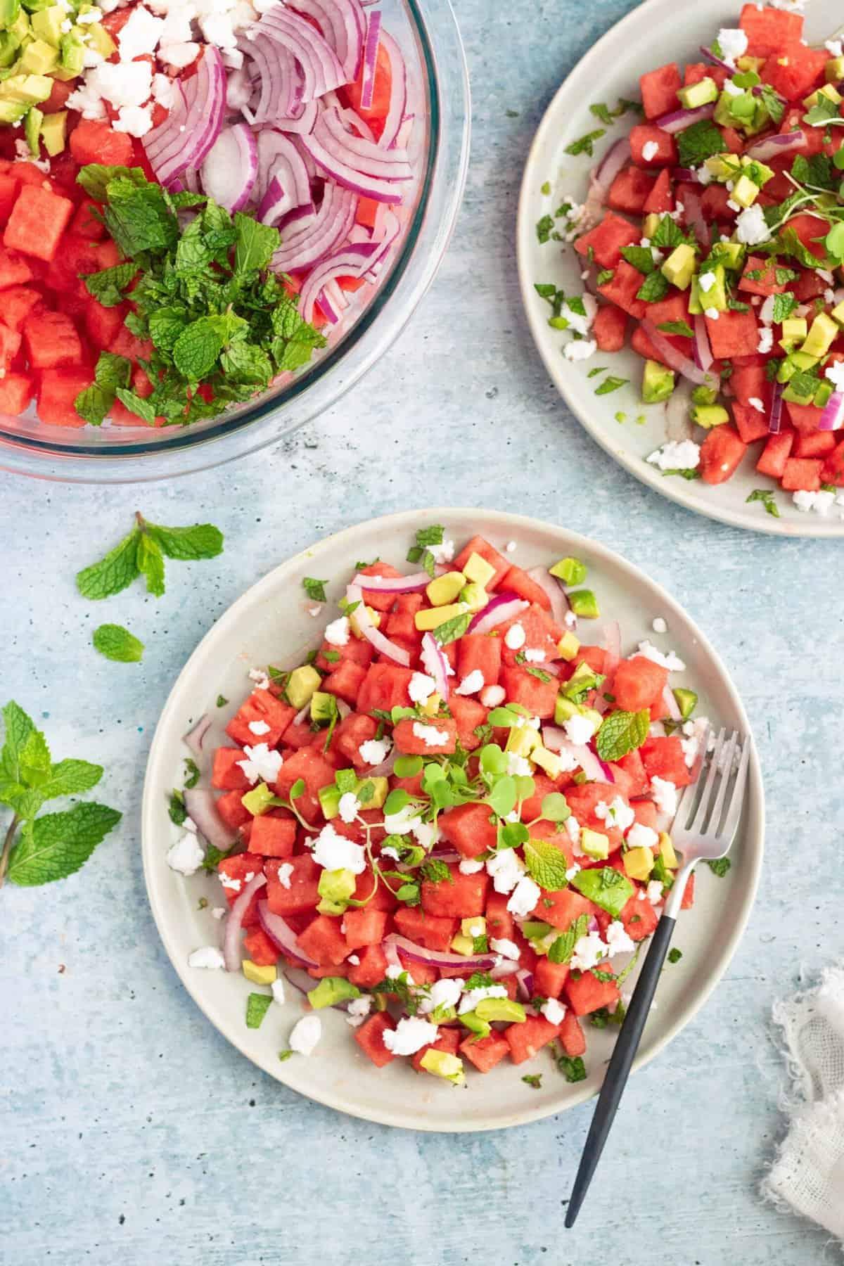 Watermelon Avocado Mint Feta Salad (vegan)