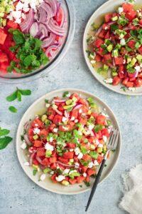 Vegan Watermelon Avocado Feta Salad