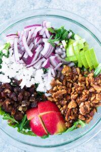 Apple Arugula Salad with Walnuts and Dates