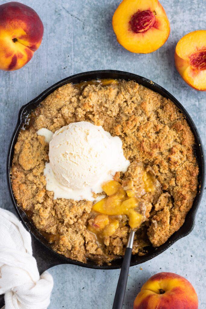 Grilled Vegan Peach Cobbler