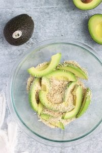 Breading Avocado Wedges for Frying