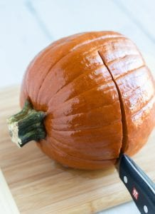 Cutting Cooked Pumpkin in Half