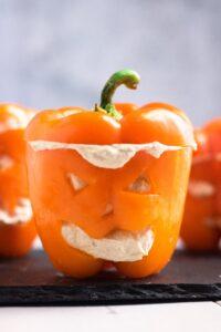 Hummus Bell Pepper Jack-O-Lanterns
