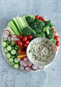 Vegan French Onion Dip with Raw Veggies