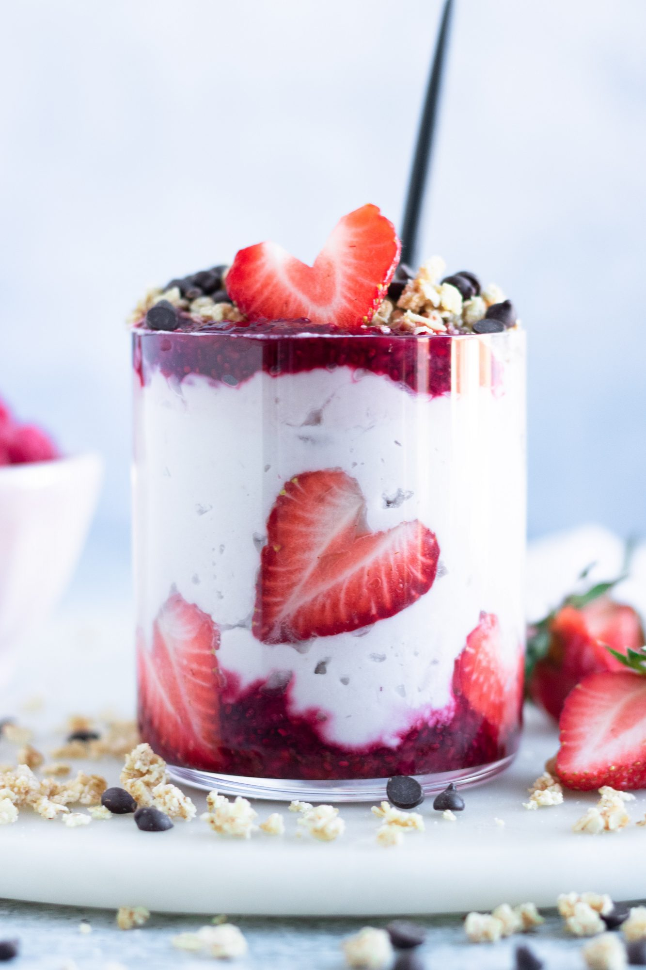 Strawberry Heart Yogurt Parfait