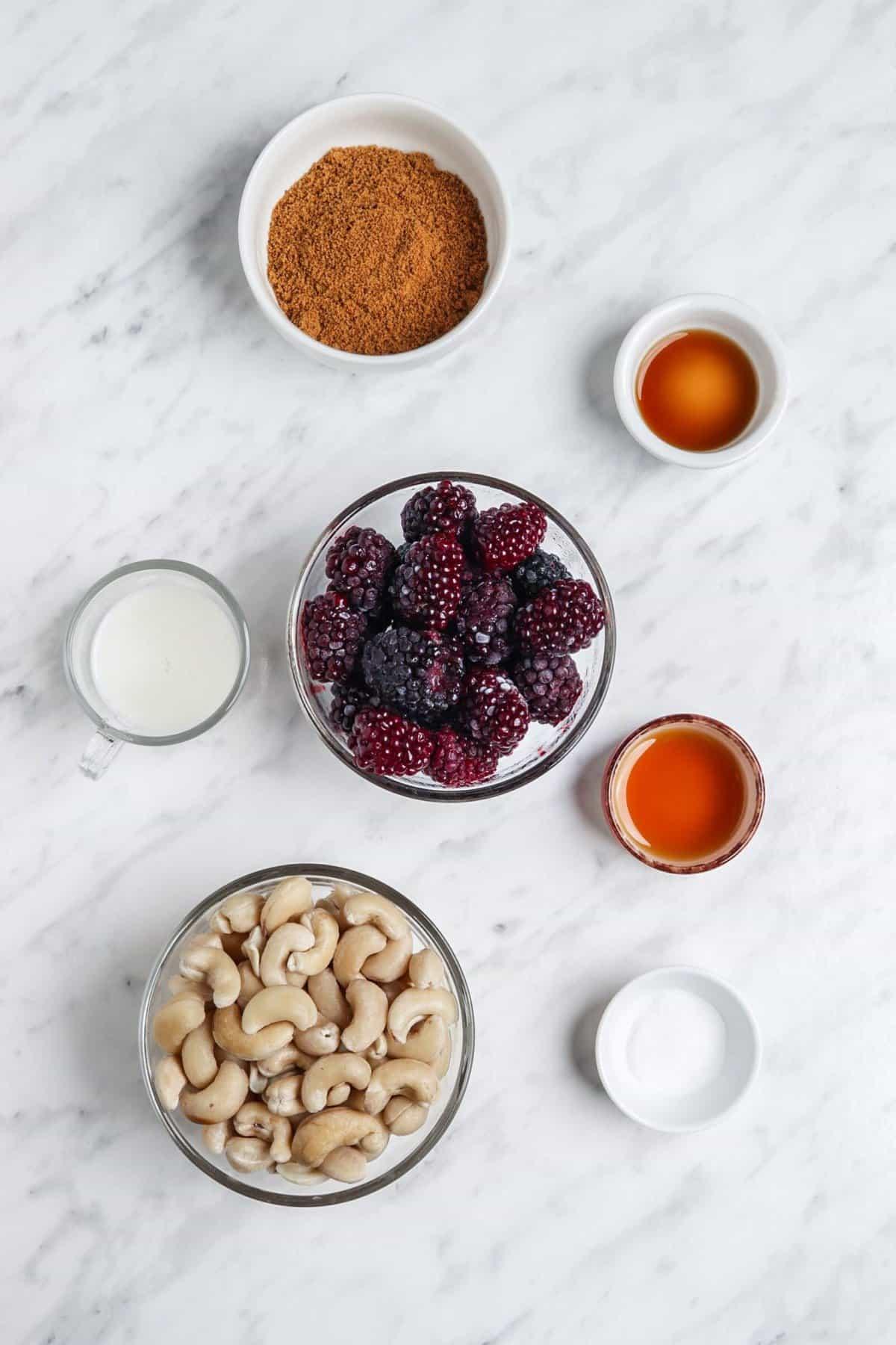 Blackberry Vanilla Pudding Ingredients