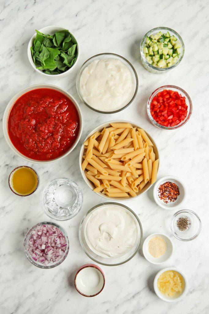 Vegan Pasta Bake Ingredients