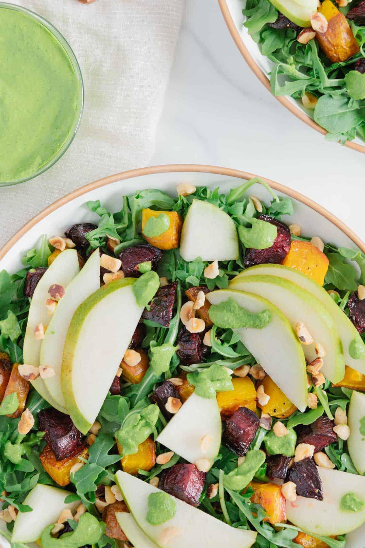 Roasted Beet and Pear Arugula Salad