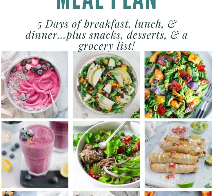 Easy Summer Vegan Gluten-Free Meal Plan + Helpful Grocery List