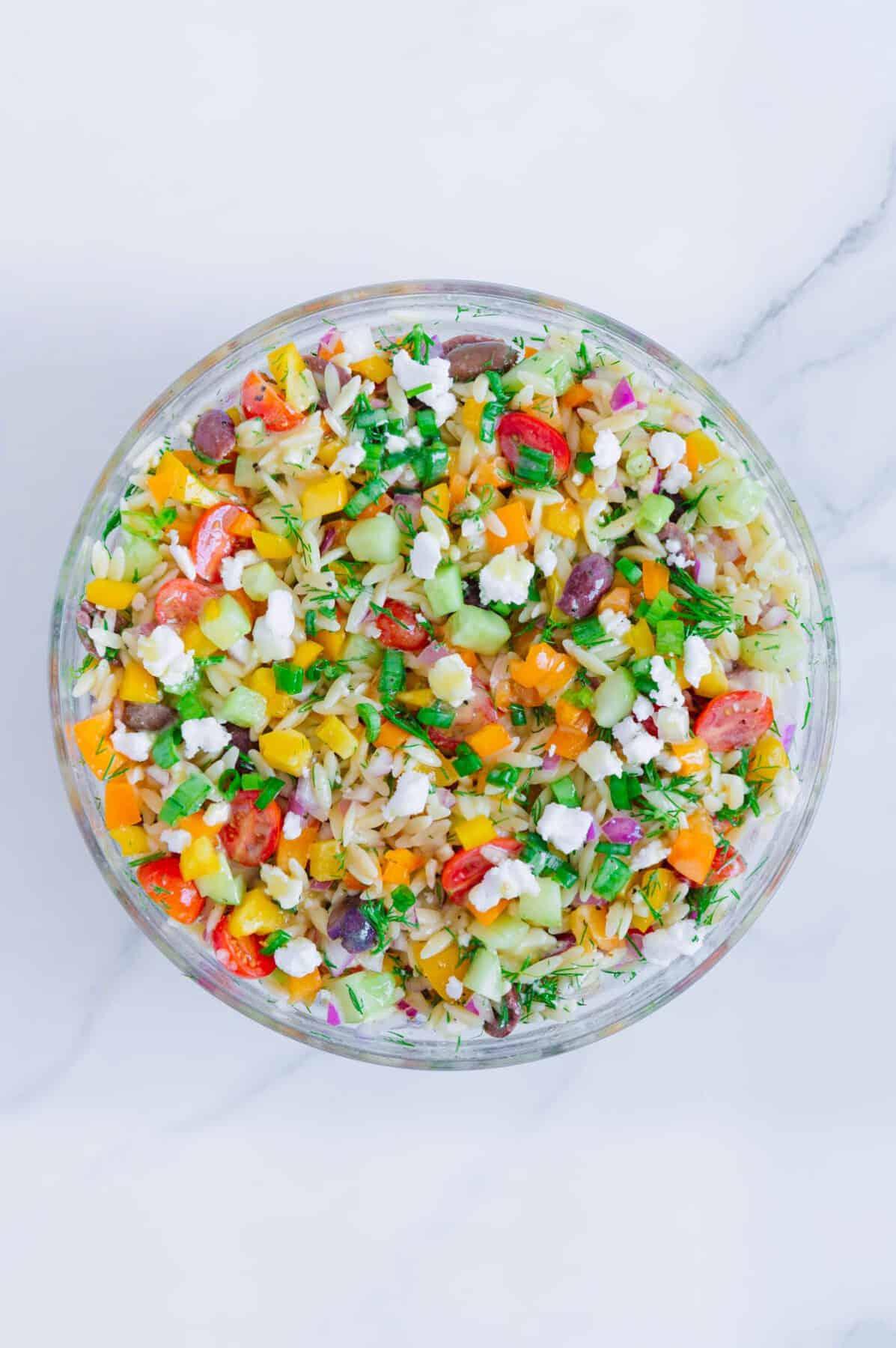 Creamy Vegan Greek Orzo Salad