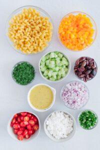 Vegan Greek Pasta Salad Ingredients
