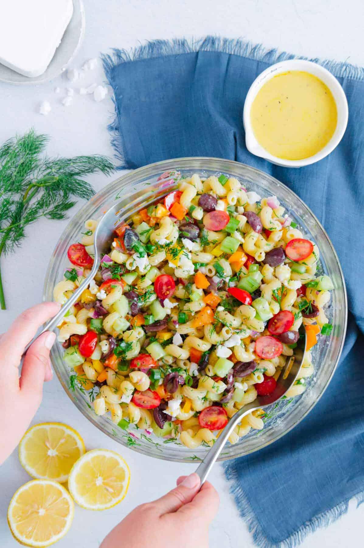 Easy Vegan Greek Pasta Salad