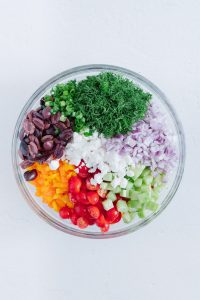 Greek Pasta Salad Ingredients in Bowl