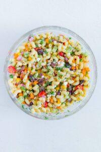 Greek Pasta Salad Mixed together