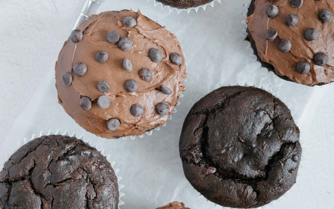 The Best Healthy Vegan Gluten-Free Double Chocolate Zucchini Muffins with Vegan Chocolate Cream Cheese Frosting (refined sugar-free)