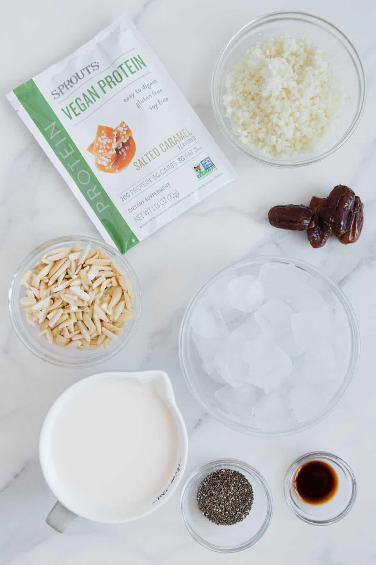 Vegan Salted Caramel Smoothie Ingredients