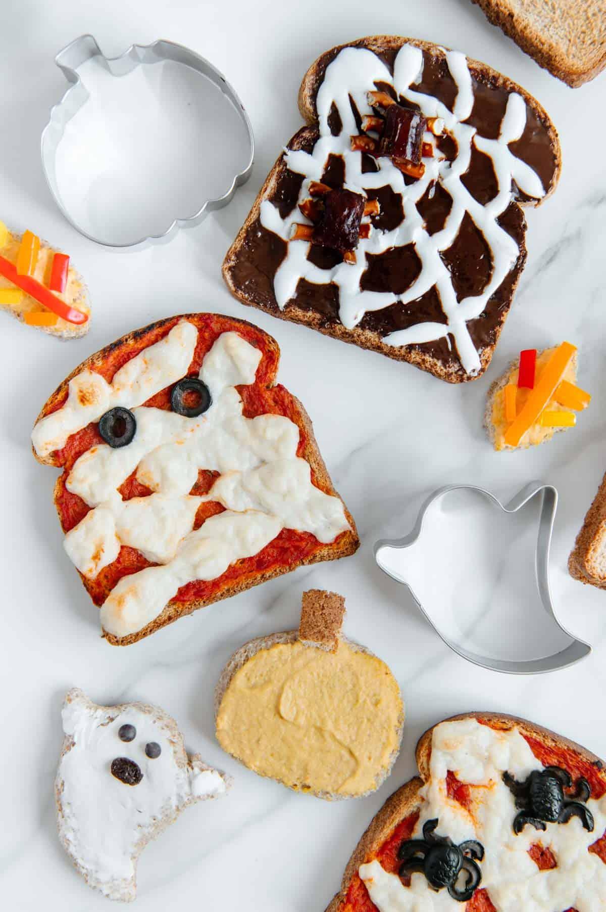 Vegan Halloween Pizza Toast