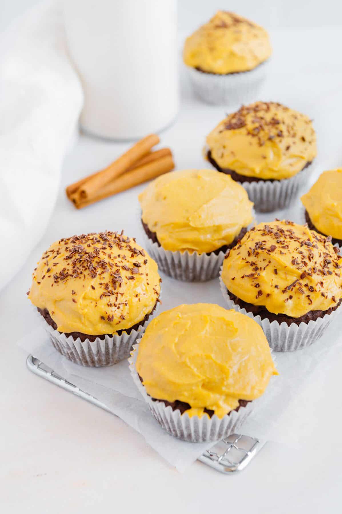 Vegan Chocolate Pumpkin Muffins with Pumpkin Cream Cheese Frosting (GF + nut-free)