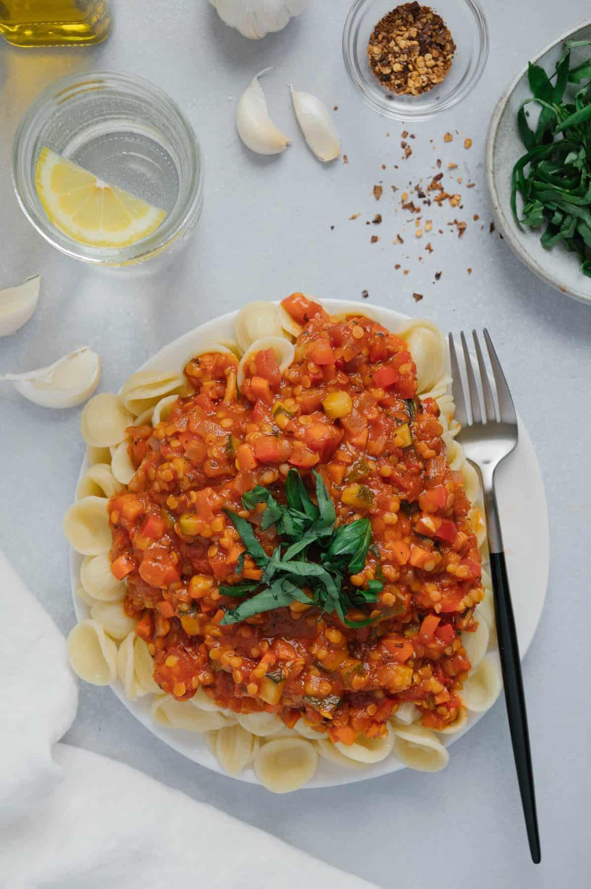 Red Lentil Veggie Pasta