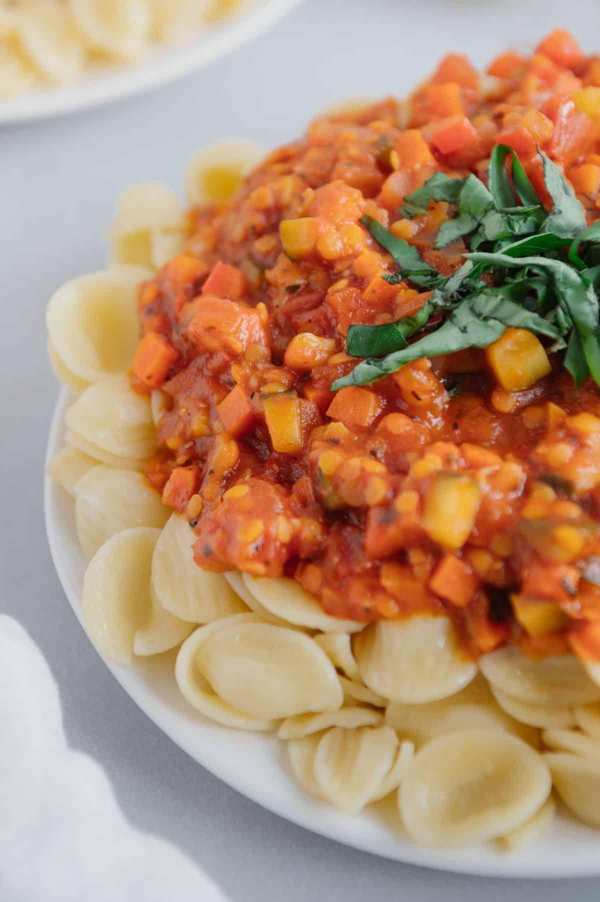 Gluten-Free Red Lentil Veggie Pasta