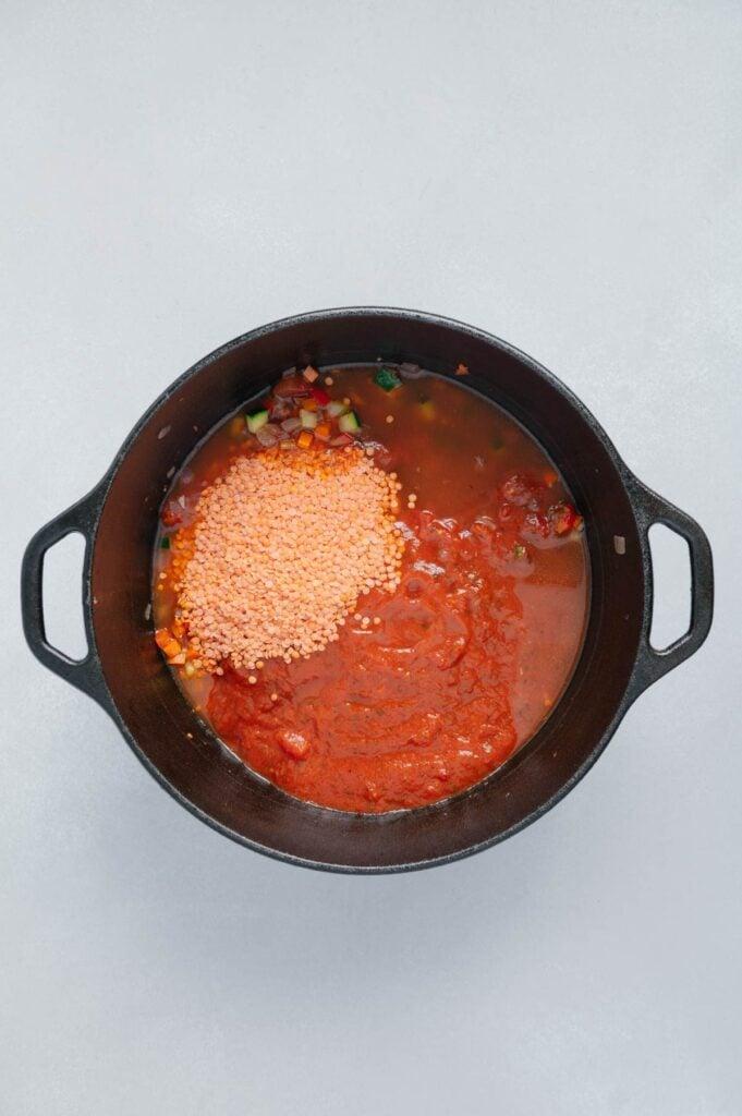 How to Make Red Lentil Veggie Pasta