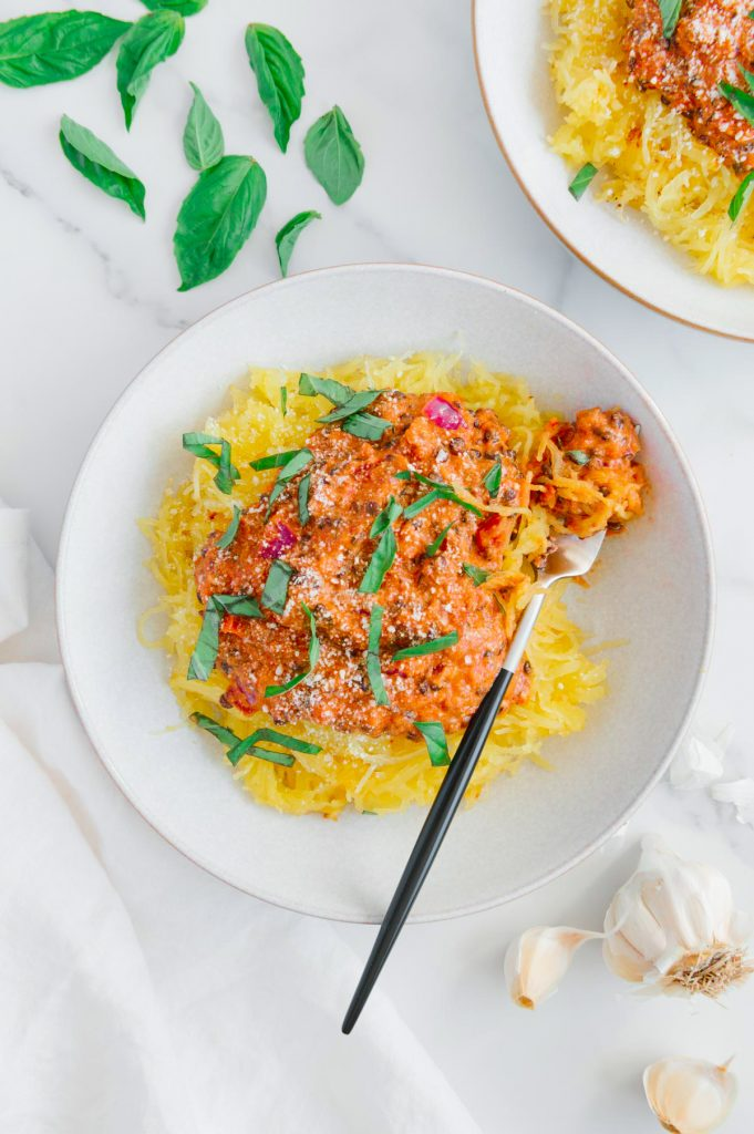 Spaghetti Squash with Creamy Vegan Marinara